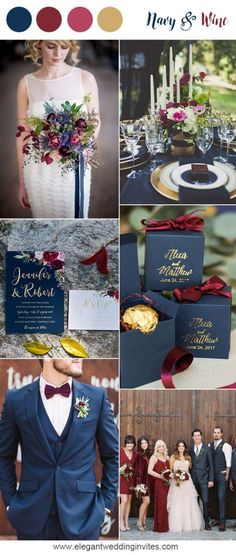 navy blue and wine red wedding colors for 2018