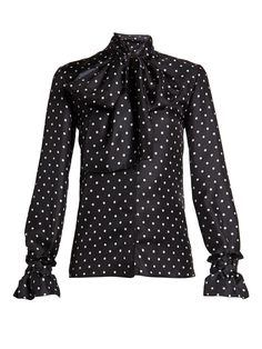 Click here to buy Loewe Lavallière-neck polka-dot print satin blouse at MATCHESFASHION.COM