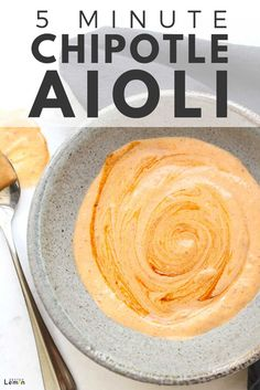 This 5 minute chipotle aioli recipe is as easy as it is delicous. This aioli is spicy and rich with a hint of garlic and lime. Spicy Aioli, Garlic Aoli Recipe, Garlic Aioli, Aoli Sauce Recipe, Vegan Aioli Recipe, Chutney, Gourmet Recipes, Cooking Recipes, Health And Wellness