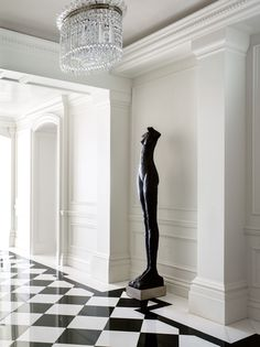 Everything about this is perfection. From the black and white marble floors to the beautiful nude sculpture. Everything about this is perfection. From the black and white marble floors to the beautiful nude sculpture. Decor, House Design, Interior, Home, Black And White Interior, White Marble Floor, Black And White Decor, White Molding, Luxury Interior