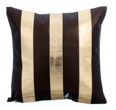 Alternating Gold - 16x16  Metallic Gold & Chocolate Brown Faux Leather Throw Pillow.
