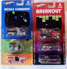 Hot Wheels Nostalgia K Case Vintage Video Games Atari set 6 Diecast Real Riders