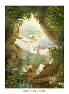 Nursery Rhyme Print  ' Rock a bye Baby  '  by Charlotte Bird Matted size 12 x 16 inches