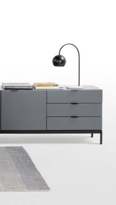 Marcell Sideboard in Grey. Matt grey with metal hardware and sleek legs. £349 | MADE.COM