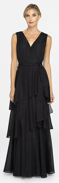Metallic black gown by Tahari