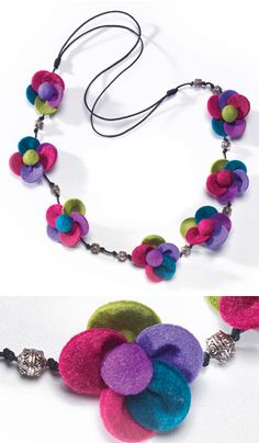 Multi colour felt flower and silver bead necklace