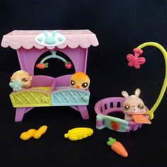 Littlest Pet Shop 2629 2630 2631 Bunny Chick Hamster Baby Set Bed LPS HASBRO