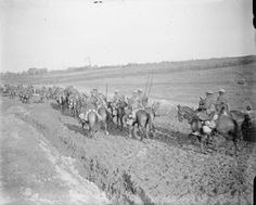 Indian cavalry on the road into Ervillers, March 1917.