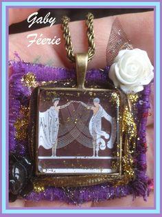 """Gaby Féerie #Créateur #Designer #Bijoux #Originaux  #Modèle #Unique Art Déco collier  """" le mariage,unis par les liens tissés ce jour-là"""" -  inspiré des sculptures de Erté , cabochon en verre mis sur un beau tissu entouré de doré  ======================== La Boutique pour en savoir plus ➜  http://www.alittlemarket.com/boutique/gaby_feerie-132444.html"""