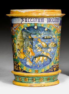Important, large 'majolica' porcelain 'istoriato' albarello 'a quartieri', Faenza, ca. 1540-1550.