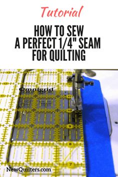Frustrated by quilt blocks that turn out too small or too large? Learn how to sew a perfect quarter-inch seam for quilting. Tutorial from NewQuilters.com