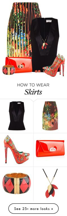 """stripe skirt"" by oxigenio on Polyvore featuring Mary Katrantzou, Balenciaga, Christian Louboutin, TaylorSays, Moschino, Marni and Valentin Magro"