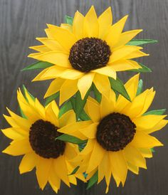 Diy sunflower paper flower template for silhouette or cricut 3 large paper flowerssunflowers by adornflowers on etsy mightylinksfo
