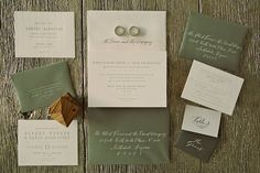 Olive green letter press wedding invitations | Anna Kim Photography
