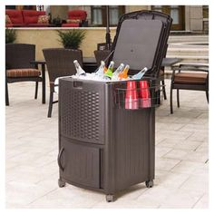 I like this Outdoor Cooler - perfect for a backyard party.  There is also a wire basket on the side to store cups.