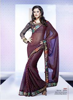 Khazanakart Heavy Worked Saree Faux Chiffon Saree in Dark Maroon Color