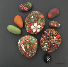 Painted Rocks, Hand-Painted Stones, Mandala Inspired Design, Natural Art, Free US Shipping, fields of color collection Trio #37