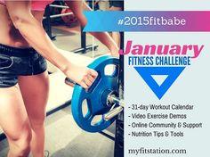 January Fitness Challenge - 2015 Fit Babe Workout Calendar via www.myfitstation.com #workout #fitness