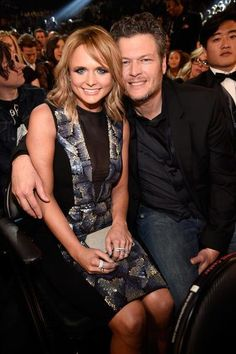 Miranda Lambert and Blake Shelton attend The 57th Annual GRAMMY Awards