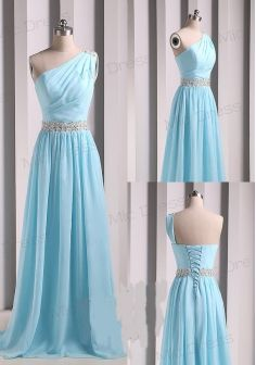 2014 A-line One-shoulder And Beaded Waistband Ice Blue Formal Evening Dresses / Real Sample Long Prom Dresses /Bridesmaid Dress DIB157097