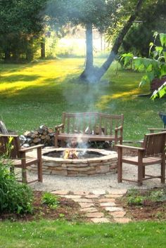 wooden benches, outdoor fires, stone paths, outdoor fire pits, backyard ideas with fire pit, backyard fire pit ideas, backyard fire pits, fire pit area, stepping stones