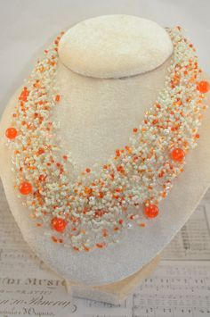 Air necklace Orange beads Jewelry handmade beaded crochet