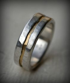 rustic fine silver and 14K yellow gold ring - handmade texturized and hammered artisan designed wedding or engagement band - customized