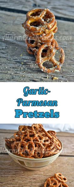 Need a fast snack that's easy to make and that tastes good? Try this recipe for Garlic-Parmesan Pretzels. Only 4 ingredients and 6 minutes to snack time! (yummy snacks for work) Savory Snacks, Easy Snacks, Yummy Snacks, Healthy Snacks, Yummy Food, Breakfast Healthy, Healthy Recipes, Simple Recipes, Vegetarian Recipes