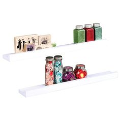"""Wall Mounted Craft Storage Shelf, Pack of 2 The shelves measure 23 5/8"""" x 3 1/4"""" x 1 1/4"""" and come in a pack of 2."""