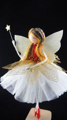 Unique Christmas Trees, Christmas Fairy, Christmas Tree Toppers, Handmade Christmas, Xmas, Fairy Tree, Satin Roses, Beautiful Fairies, Fairy Dolls