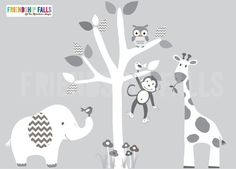 Mini Jungle Decals Small elephant Wall Decal by FriendshipFalls