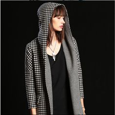 Double faced Wool Coat/Houndstooth Cashmere Coat/ Houndstooth hoodie Jacket/Black and white dogstooth wool coat by KulEliter on Etsy