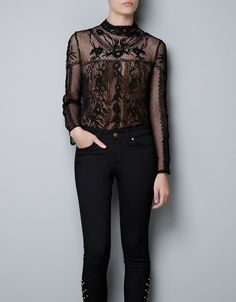 TOP WITH EMBROIDERED SWISS DOT FLOWERS - Shirts - Woman - ZARA