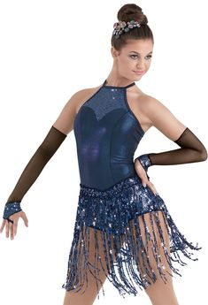 Weissman™ | Metallic Blue Sequin Fringe Halter Dress costume
