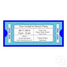 Cute Ticket Style Boy's Blue Train Birthday Party Invitations - easy to personalize template