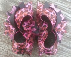 Girls Boutique Hair Bow, Animal Print Hairbow, Pink and Black Hair Bow, Stacked Hairbow, Toddler Hair Bow by JazzyandSassyDesigns on Etsy