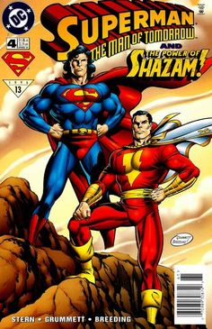The world's mightiest mortals! DC Comics presents Superman and Captain Marvel together when a supernatural supervillain unleashes a drug that's not only narcotic - it's mutagenic. Also a mighty Marvel mortal: Roger Stern. Swanderson lake: Tom Grummett and Brett Breeding.