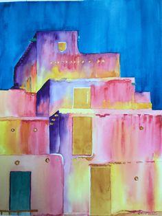 """Taos Pueblo  (18"""" X 24"""") Watercolor by Colin Claxon"""
