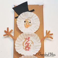 coffee filter snowman craft