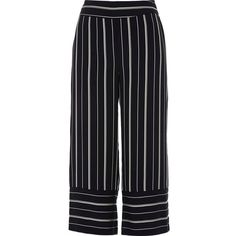 River Island Petite navy mixed stripe cropped pants (£51) ❤ liked on Polyvore featuring pants, capris, navy, wide leg pants, women, woven pants, petite crop pants, navy blue pants and tall wide leg pants