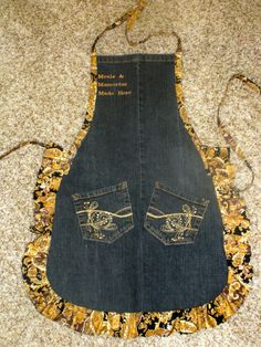 Apron from recycled blue jeans