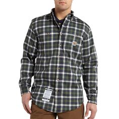 101028 Carhartt Men's Flame-Resistant Classic Plaid Shirt