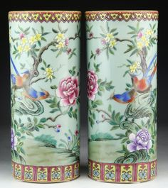 """Pair Chinese Antique Famille Rose Porcelain Vases: both of cylindrical forms, signed 'KANGXI' on the bases, of Late Qing Dynasty; Size: H: 11-1/2"""""""