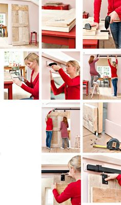 Great instructions for a DIY sliding door Diy Interior, Interior Barn Doors, Diy Sliding Door, Home Organisation, Home Renovation, Diy Furniture, Sweet Home, New Homes, Diy Projects