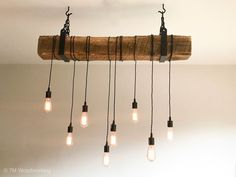 Rustic Reclaimed Barn Wood Beam Hanging Light Fixture Long with 8 Lights Handmade by Woodworking Rustic Light Fixtures, Hanging Light Fixtures, Rustic Lighting, Shop Lighting, Hanging Lights, Dinning Room Light Fixture, Rustic Lamps, Light Fittings, Kitchen Lighting