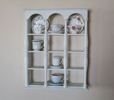 Vintage Tea Cup Display Shelf Wooden White by FolkOfTheWoodCrafts, $40.00