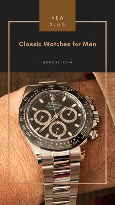 Looking for every-day classic watches for men? Shop our curated list of pre-owned luxury watches for the man who appreciates it all- style, heritage and tradition, and an active lifestyle. Visit our blog to learn more! Rolex Watches For Men, Luxury Watches, Stainless Steel Bracelet, Stainless Steel Case, Omega Speedmaster Racing, Rolex Cosmograph Daytona, Pre Owned Watches, Silver Stars, Black Rubber