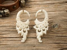 Bone Fake Gauges Earrings Bone Flower Circle by organicethnic, $22.00