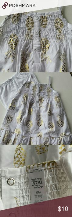 GIRLS PINEAPPLE  SUN DRESS This two piece sun dress is sooooo cute.  It comes with matching diaper cover panties.   Pineapples are in gold on a white background. Carter's Dresses