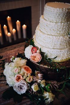 Ruffle cake and roses #cedarwoodweddings Formally Casual Cedarwood Wedding :: Emily+Evan | Cedarwood Weddings